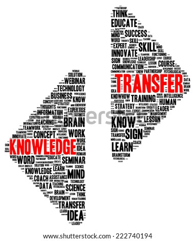 Knowledge transfer word cloud shape concept - stock photo
