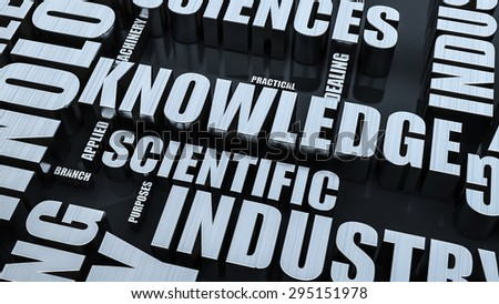 Knowledge Word Cloud Concept 3D Render - stock photo