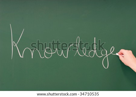 Knowledge written on a blackboard with chalk