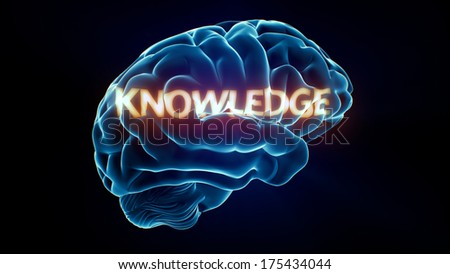 Knowledge Xray Brain isolated on black background