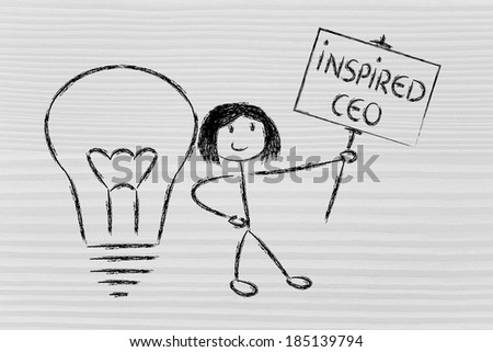 knowledgeable girl holding a sign saying inspired ceo - stock photo