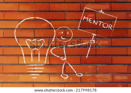 knowledgeable man holding a sign saying mentor - stock photo