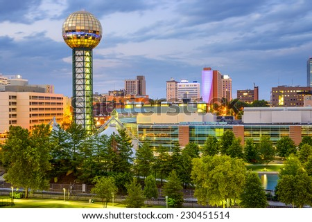 Knoxville, Tennessee, USA city skyline at World's fair Park. - stock photo