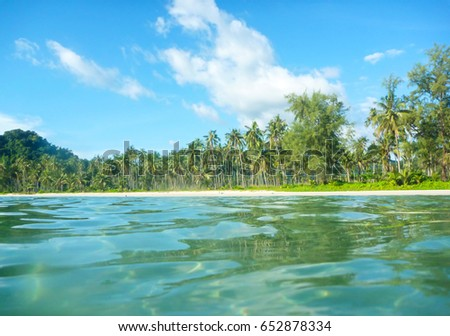 Ko Kut island with beach and palm tress seen from the ocean, east Thailand