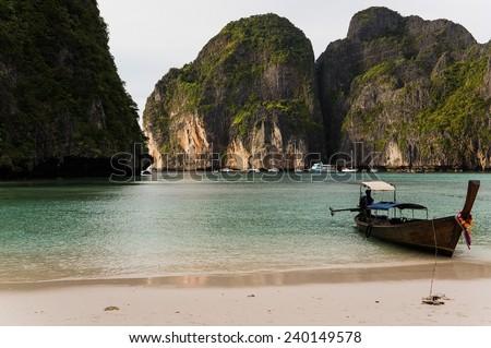 Ko Phi Phi Leh, the place where the movie' The beach' starring Leonardo di Caprio was filmed  - stock photo