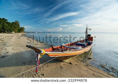 Ko samui, Thailand. fisherman boat. - stock photo