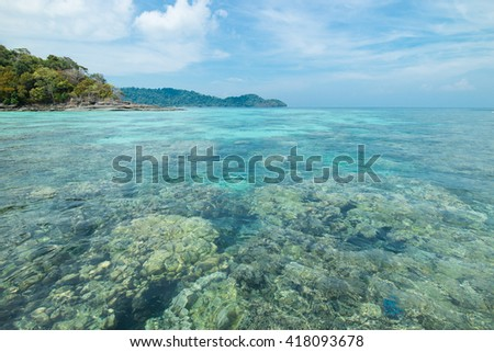 Ko Surin tropical Island paradise with clear blue water and stunning coral reef, Phang Nga, Thailand
