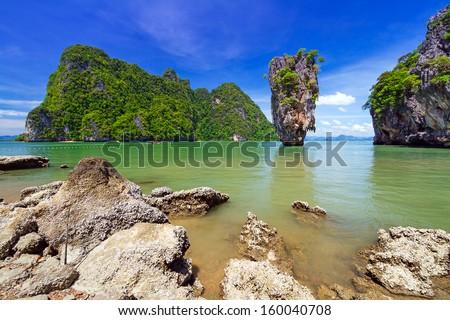 Ko Tapu rock on James Bond Island, Phang Nga Bay in Thailand - stock photo