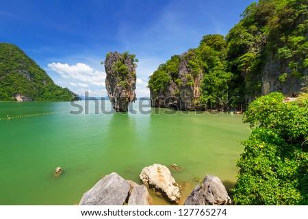 Ko Tapu rock on James Bond Island, Phang Nga Bay, Thailand - stock photo