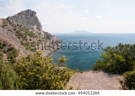 Koba-Kaya mountain and Dark Blue Bay, New Light settlement, eastern Crimea
