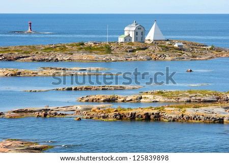 Kobba Klintar, an old pilot station in Aland archipelago with cafe and museum. - stock photo