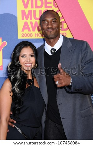 Kobe Bryant and wife Vanessa  at the 2008 MTV Video Music Awards. Paramount Pictures Studios, Los Angeles, CA. 09-07-08 - stock photo