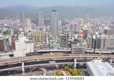 Kobe, Japan - city in the region of Kansai in Hyogo prefecture. Aerial view with skyscrapers.