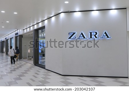 KOBE JAPAN - 2 JUNE, 2014: ZARA shop. ZARA is a Spanish clothing and accessories retailer based in Galicia Spain founded in 1975.