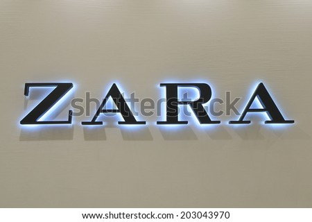KOBE JAPAN - 2 JUNE, 2014: ZARA shop. ZARA is a Spanish clothing and accessories retailer based in Galicia Spain founded in 1976