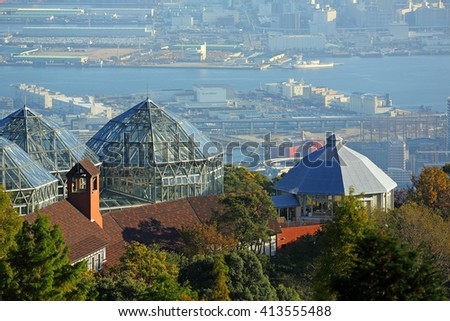 KOBE, JAPAN - Nov 5: Top view of Kobe city from Kobe ropeway station in Autumn season at Nunobiki Herb garden on November 5, 2015 in Kobe, Japan. It is a herb garden with an area larger than 40 acres