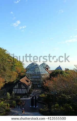 KOBE, JAPAN - Nov 5: Top view of Kobe city from Kobe ropeway station in Autumn season at Nunobiki Herb garden on November 5, 2015 in Kobe, Japan. It is a herb garden with an area larger than 40 acres - stock photo