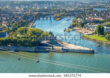 Koblenz, Deutsches Eck, Festung Ehrenbreitstein,  - stock photo
