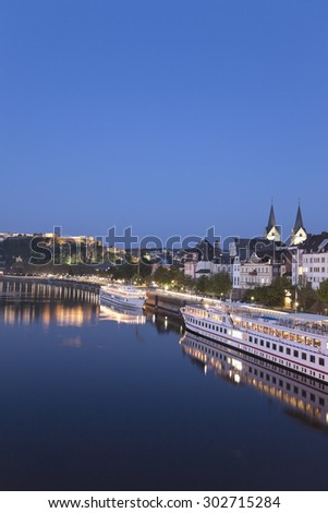 Koblenz ,Ehrenbreitstein,View of old town with German Corner,iron statue and fortress Ehrenbreitstein across river Rhine,cruise ship on river moselle - stock photo