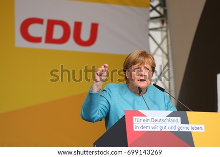 KOBLENZ, GERMANY - AUGUST 16, 2017: Chancellor Angela Merkel gives a speech at the German Corner (Deutsches Eck), on the occasion of the election campaign of the CDU