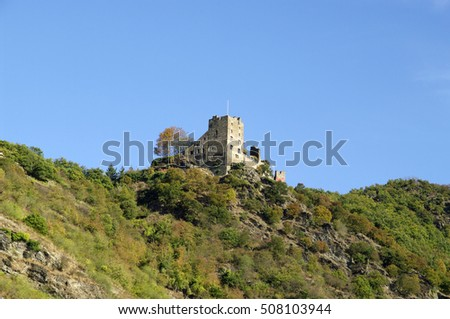 "KOBLENZ, GERMANY - 16.10.2016 Liebenstein Castle. This is a famous tourist route ""Castles of the Rhine""."