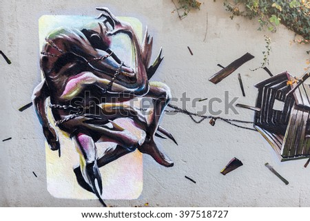 KOBLENZ, GERMANY - NOVEMBER 03, 2015: artistic mural on legal spaces in Koblenz. The cities changing more and more their policies and giving space for mural art to prevent criminal damage
