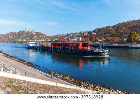 KOBLENZ, GERMANY - NOVEMBER 03, 2015: river Rhine with the fortress Ehrenbreitstein in the background. The fortress has been part of the UNESCO World Heritage Site Upper Middle Rhine Valley since 2002 - stock photo