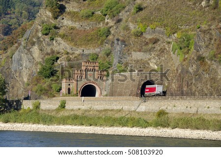"KOBLENZ, GERMANY - 16.10.2016 . Tunnel near the Lorelei. This is a view fragments of the famous tourist route ""Castles of the Rhine""."