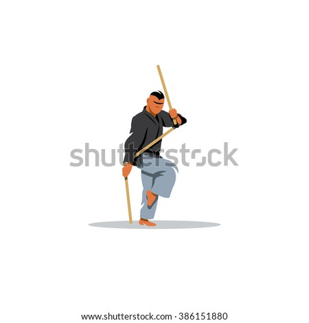 Kobudo japanese martial arts. Fighter with nunchaku in his hands. Branding Identity Corporate Logo isolated on a white background