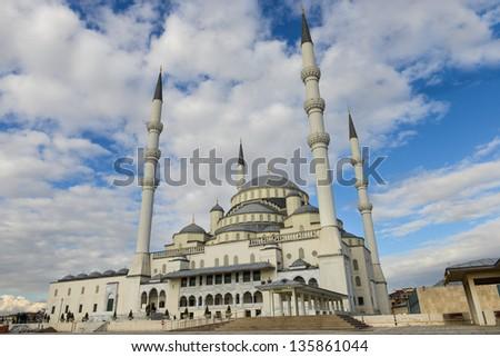 Kocatepe Mosque in a cloudy day - Ankara, Turkey - stock photo