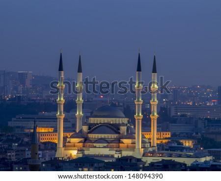 Kocatepe Mosque in Ankara - Turkey - stock photo