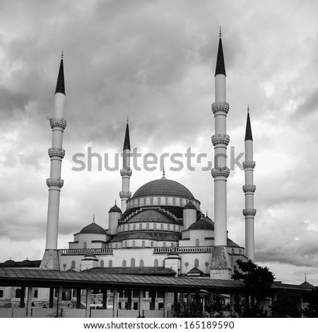 Kocatepe Mosque in Ankara, Turkey - Black and White - stock photo
