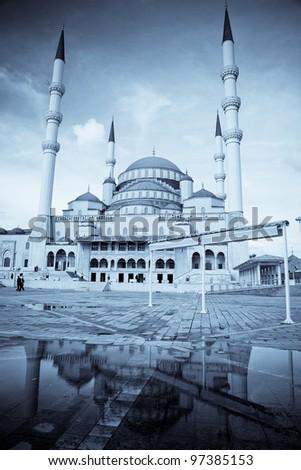 Kocatepe Mosque in Ankara, Turkey - split toned - stock photo