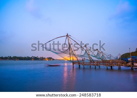 Kochi chinese fishnets in twilight Kochi, Kerala. Fort Kochin, Kochi, Kerala, south India - stock photo