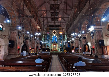 KOCHI, INDIA - JAN 2, 2015: Inside of the Santa Cruz Cathedral Basilica at Fort Kochi, Kerala. It was built originally by the Portuguese in 1558