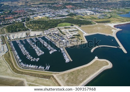 Koege, Denmark August 2015 - Aerial view of Koege marina located in Zealand