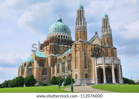 Koekelberg Basilica Of The Sacred Heart is one of architectural symbols of Brussels - stock photo