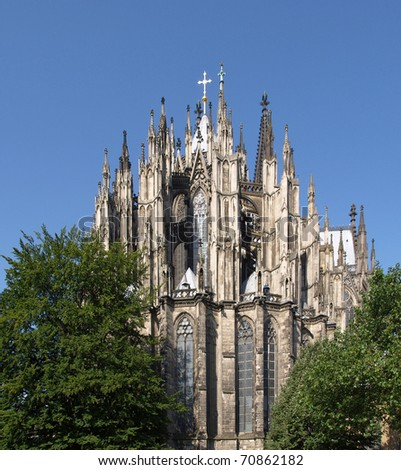 Koelner Dom, gothic cathedral church in Koeln (Cologne), Germany - rectilinear frontal view