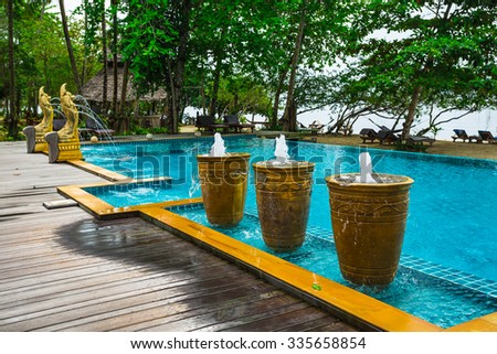 Koh Chang, Thailand. MARCH 28, 2015; Tropical Swimming Pool in the jungle.  - stock photo