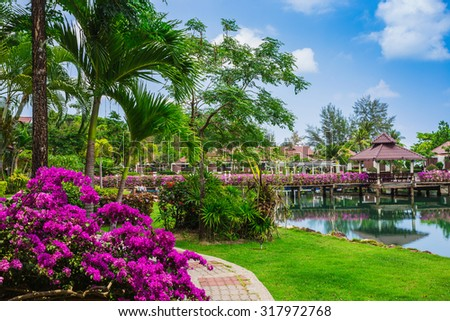 KOH CHANG, THAILAND - 31 MART, 2015: Klong Prao Resort. Cottages on the Bay in a tropical garden - stock photo