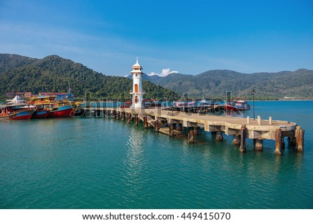 KOH CHANG, THAILAND - MART 30,  2015:  Lighthouse on a Bang Bao pier on Koh Chang Island in Thailand