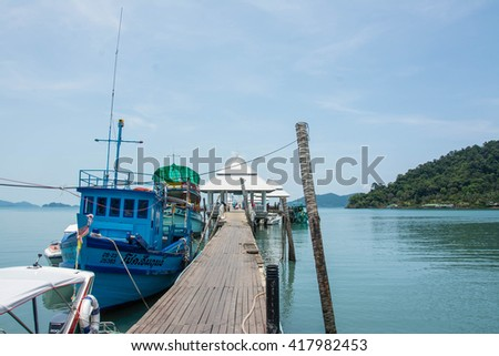KOH CHANG, THAILAND - MAY 07, 2016: Tourist boat at the pier in Bang Bao fishing village . From the pier of Bang Bao daily boats for excursions.