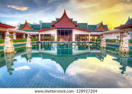 KOH KHO KHAO, THAILAND - NOV 4: Oriental architecture of Andaman Princess Resort & SPA. Hotel was destroyed by tsunami in 2004 and rebuild, Koh Kho Khao, Phang Nga in Thailand on Nov. 4, 2012. - stock photo