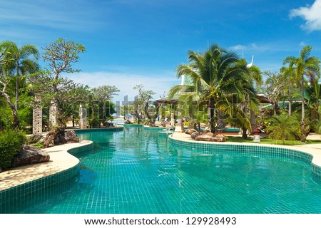 KOH KHO KHAO, THAILAND - NOV 6: Scenery of swimming pool at Andaman Princess Resort & SPA. Hotel was destroyed by tsunami in 2004 and rebuild, Koh Kho Khao, Phang Nga in Thailand on Nov. 6, 2012.