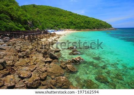 Koh Larn island tropical beach in Pattaya city, Chonburi Thailand.  - stock photo