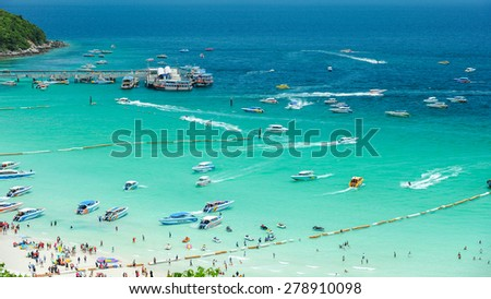 Koh Larn Island Tropical Beach in Pattaya City, Chonburi Thailand - stock photo