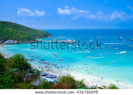 Koh Larn island tropical beach in Pattaya city, Chonburi Thailand.