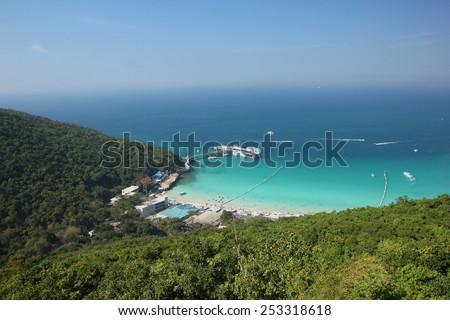 Koh Larn island tropical beach in Pattaya city, Thailand.  - stock photo