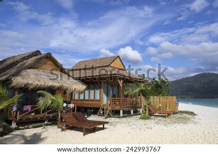 KOH LIPE, THAILAND - Dec 20, 2014 - Bungalows and chalets with sea view at Lipe Beach Resort.