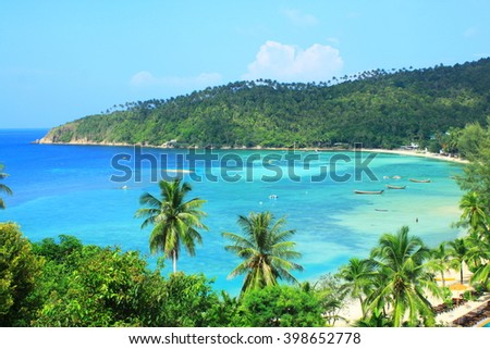 Koh phangan islands in Thailand. snorkeling paradise with clear sea water and stones beach - stock photo